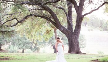 Bride posed in the grass, beneath a large oak tree on the Garey House grounds
