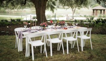 White farm dining table in the grass beneath the oak trees, with white modern chairs and table settings for 8, and view of the Terrace behind