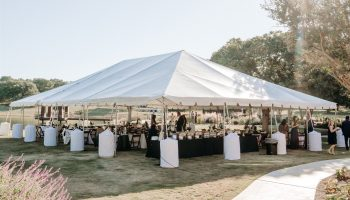 Large tented reception on the Event Lawn at Garey House