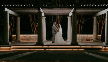 Bride and Groom under the Terrace at night