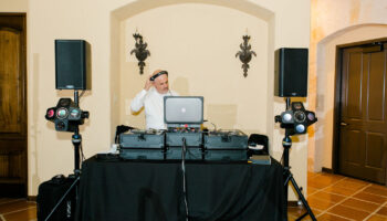 DJ with sound equipment setup on the elevated level of the Great Room
